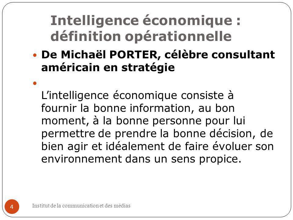 Intelligence économique : définition opérationnelle