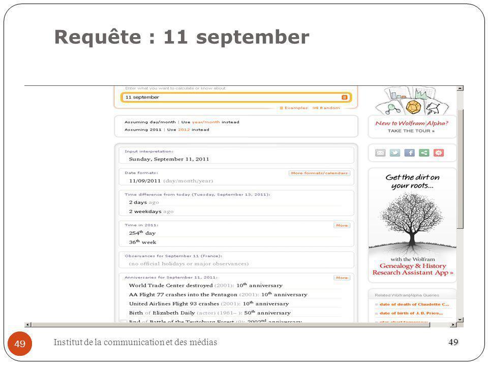 Requête : 11 september 49 Institut de la communication et des médias