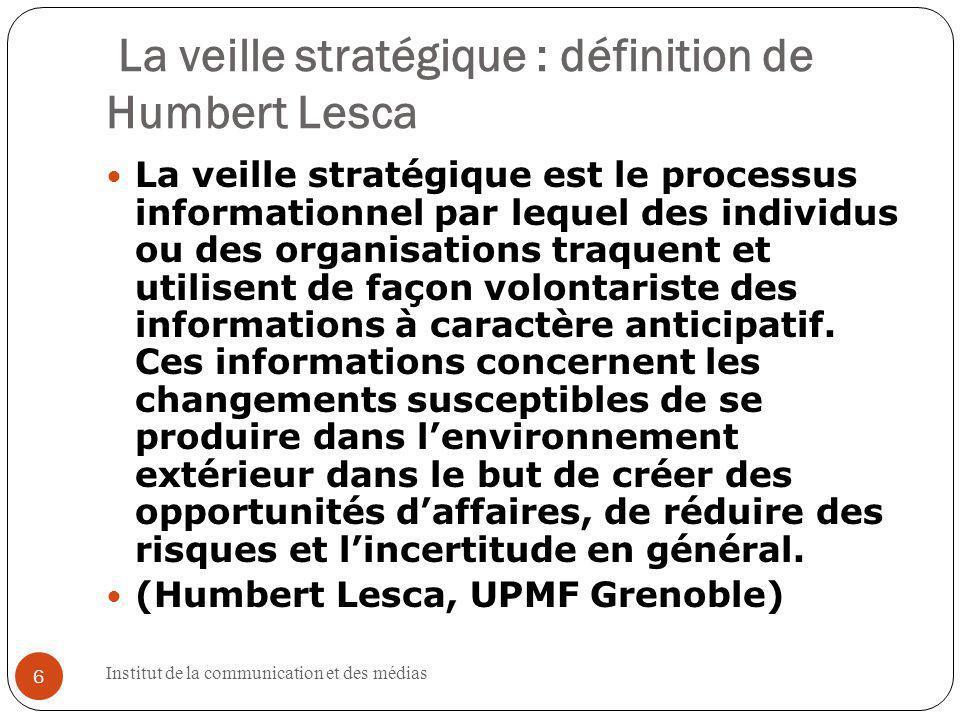 La veille stratégique : définition de Humbert Lesca