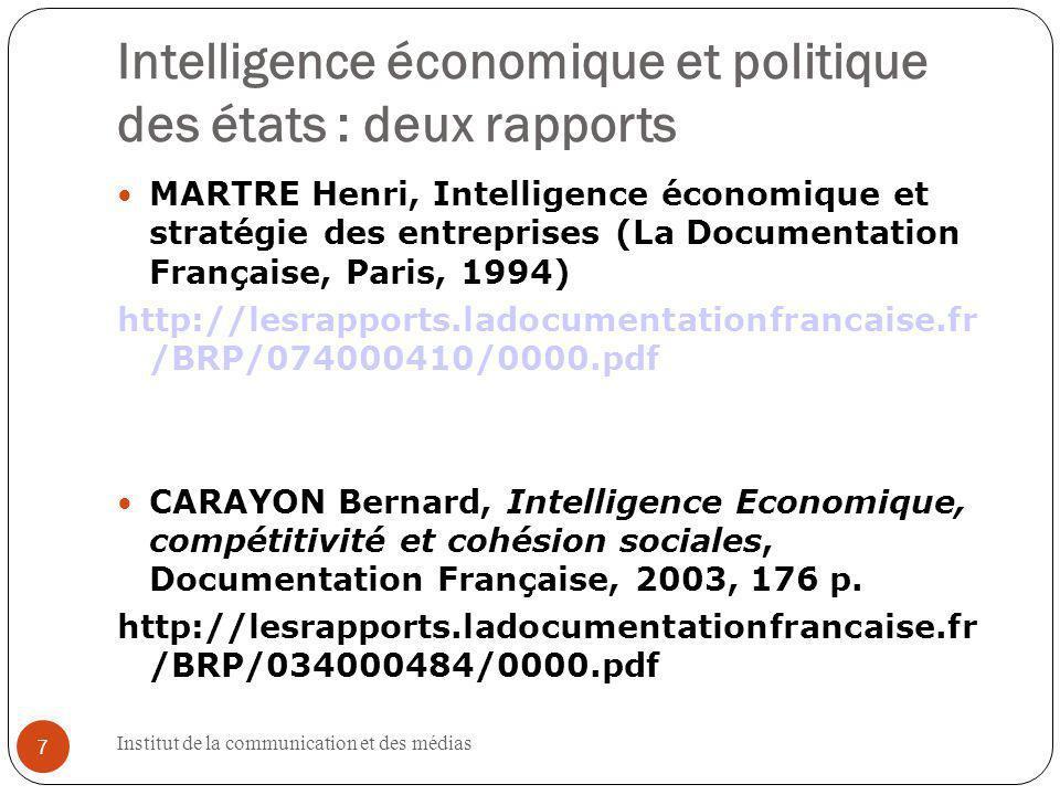 Intelligence économique et politique des états : deux rapports