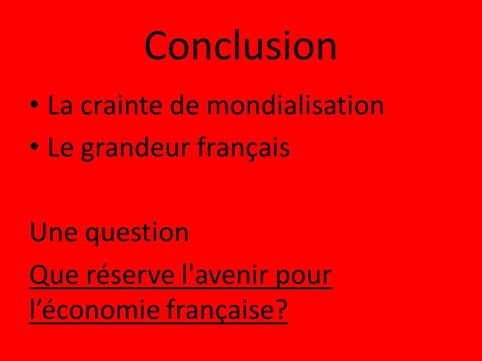 Conclusion La crainte de mondialisation Le grandeur français