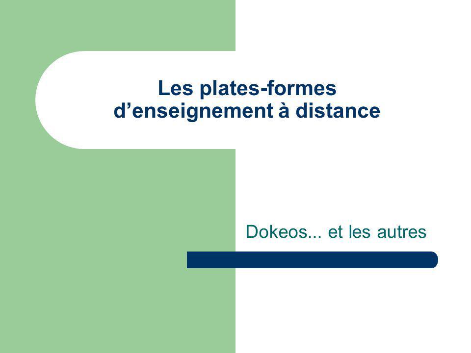 Les plates-formes d'enseignement à distance