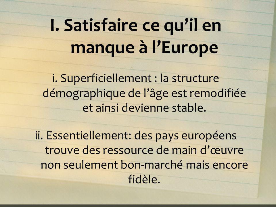 I. Satisfaire ce qu'il en manque à l'Europe