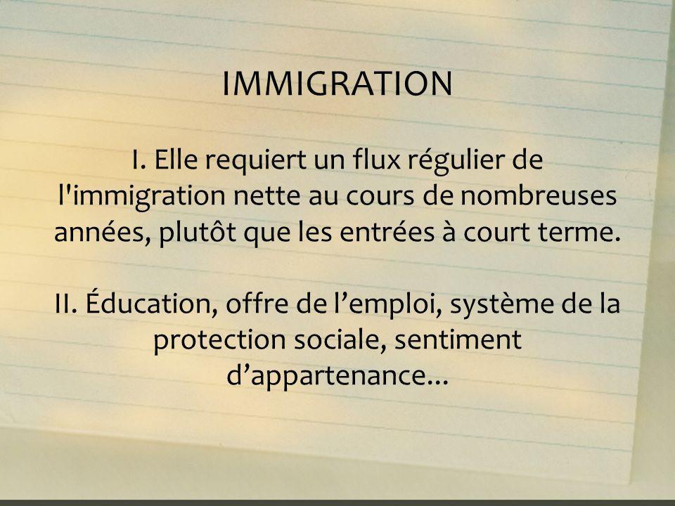 IMMIGRATION I. Elle requiert un flux régulier de l immigration nette au cours de nombreuses années, plutôt que les entrées à court terme.