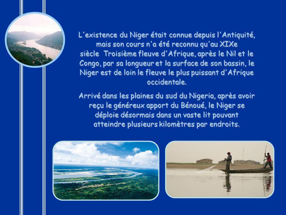 L existence du Niger était connue depuis l Antiquité, mais son cours n a été reconnu qu au XIXe siècle Troisième fleuve d Afrique, après le Nil et le Congo, par sa longueur et la surface de son bassin, le Niger est de loin le fleuve le plus puissant d Afrique occidentale.