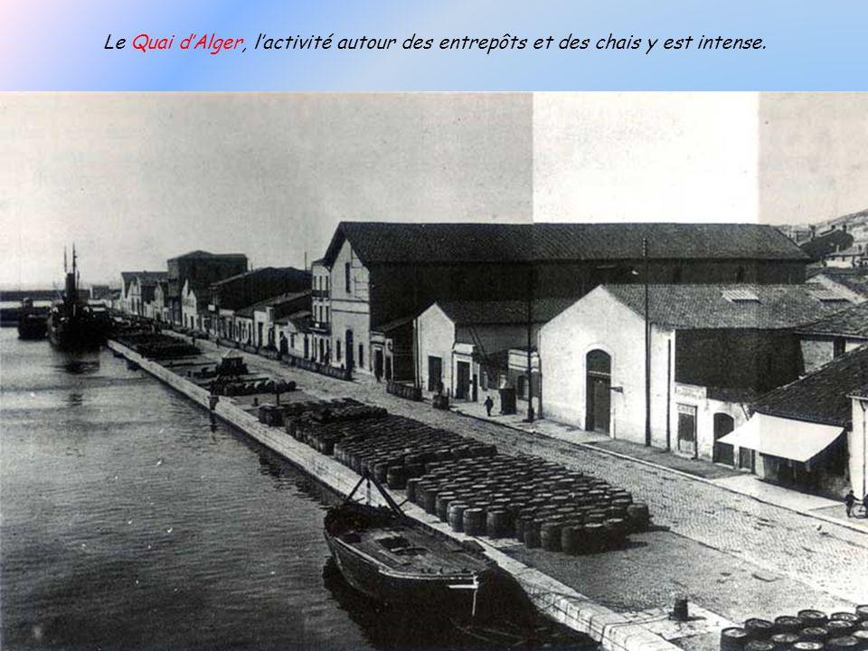 Le Quai d'Alger, l'activité autour des entrepôts et des chais y est intense.