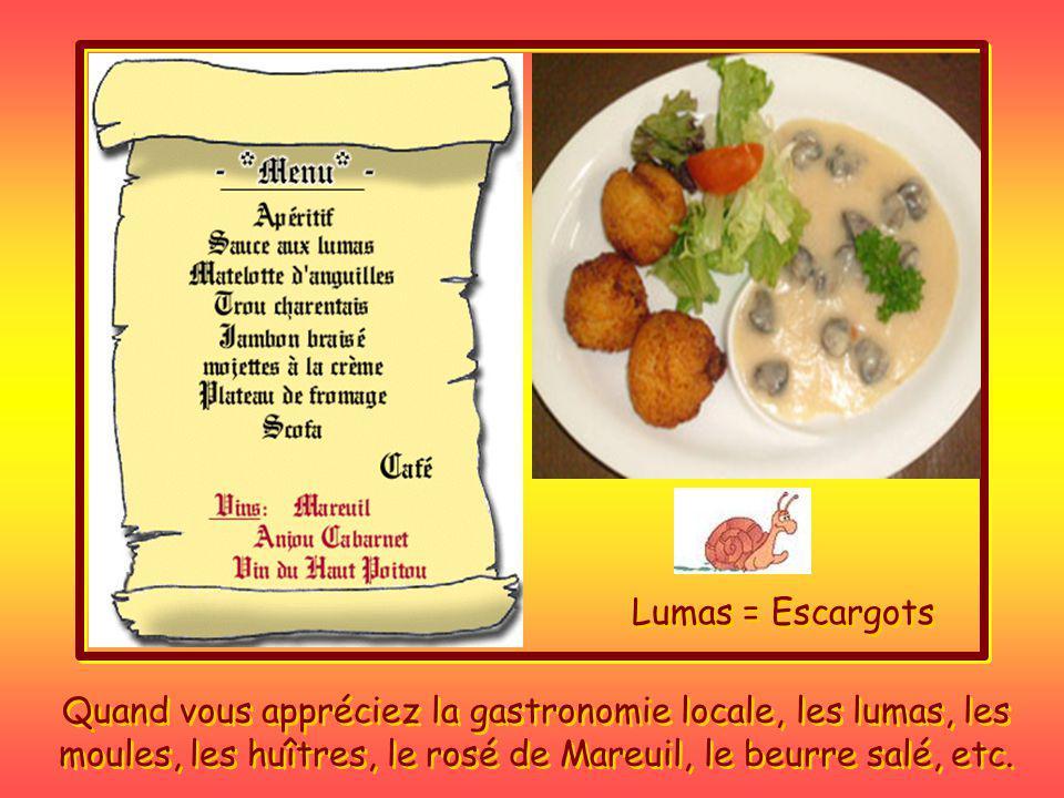Lumas = Escargots Quand vous appréciez la gastronomie locale, les lumas, les moules, les huîtres, le rosé de Mareuil, le beurre salé, etc.