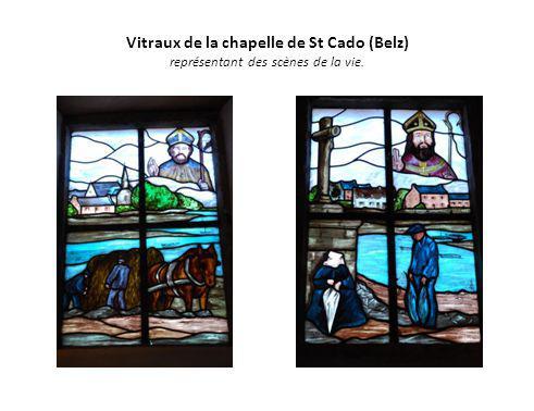 Vitraux de la chapelle de St Cado (Belz) représentant des scènes de la vie.