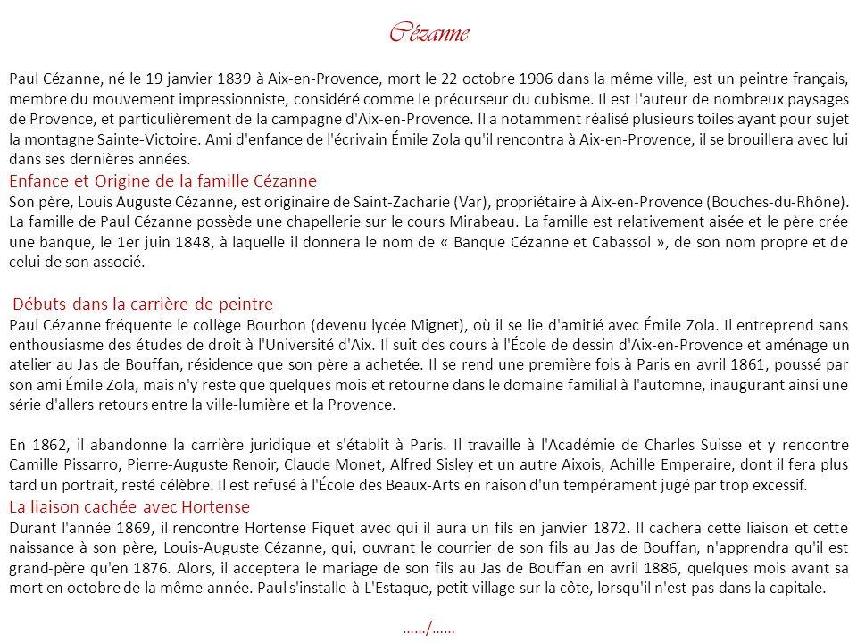 Cézanne Enfance et Origine de la famille Cézanne