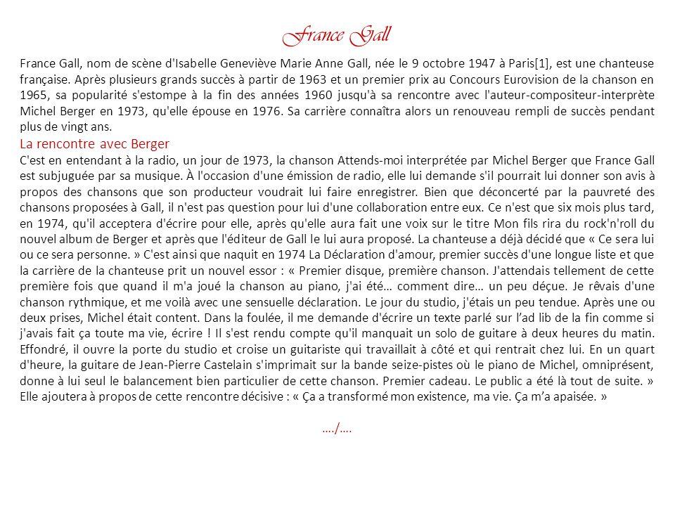 France Gall La rencontre avec Berger