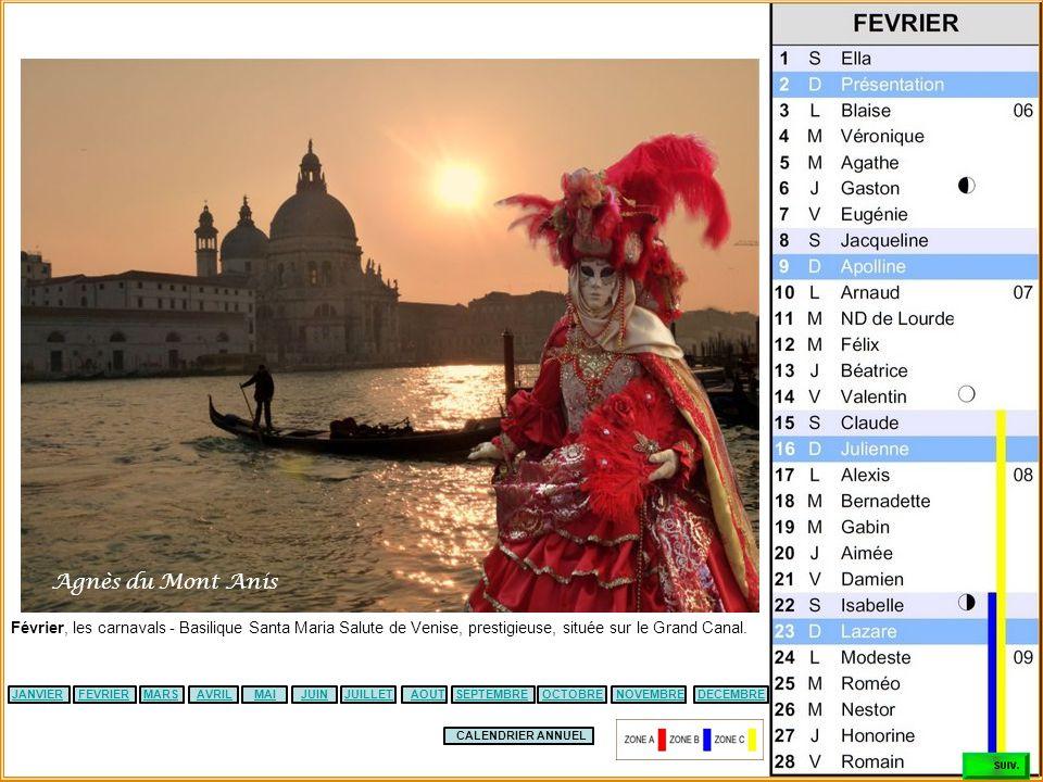 Agnès du Mont Anis Février, les carnavals - Basilique Santa Maria Salute de Venise, prestigieuse, située sur le Grand Canal.