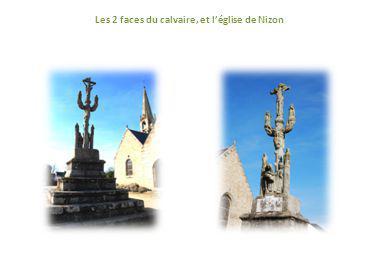 Les 2 faces du calvaire, et l'église de Nizon