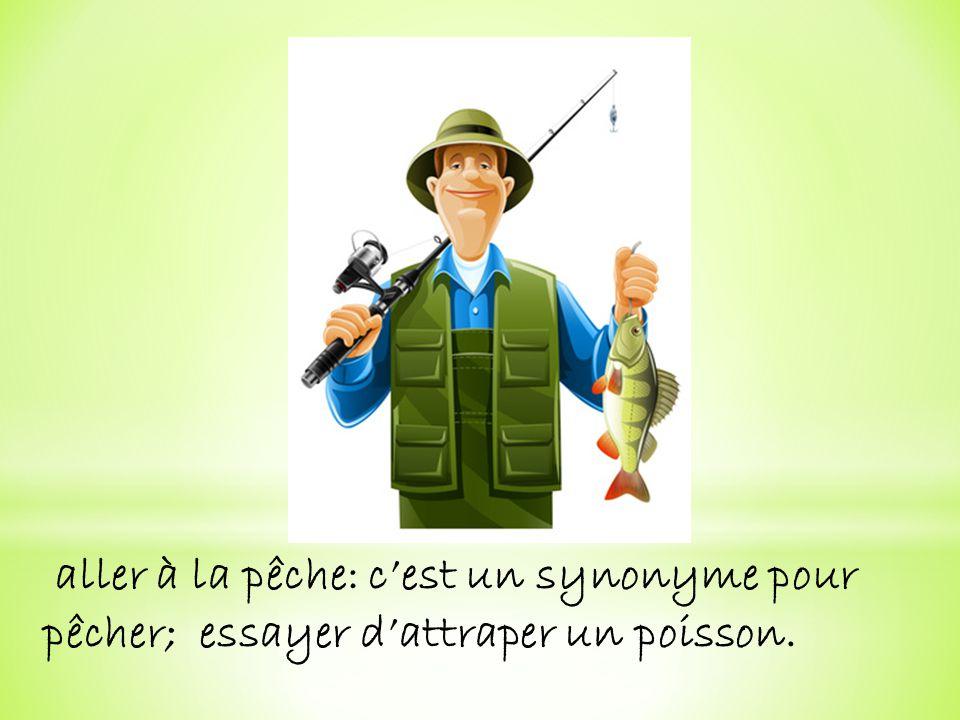 aller à la pêche: c'est un synonyme pour pêcher; essayer d'attraper un poisson.