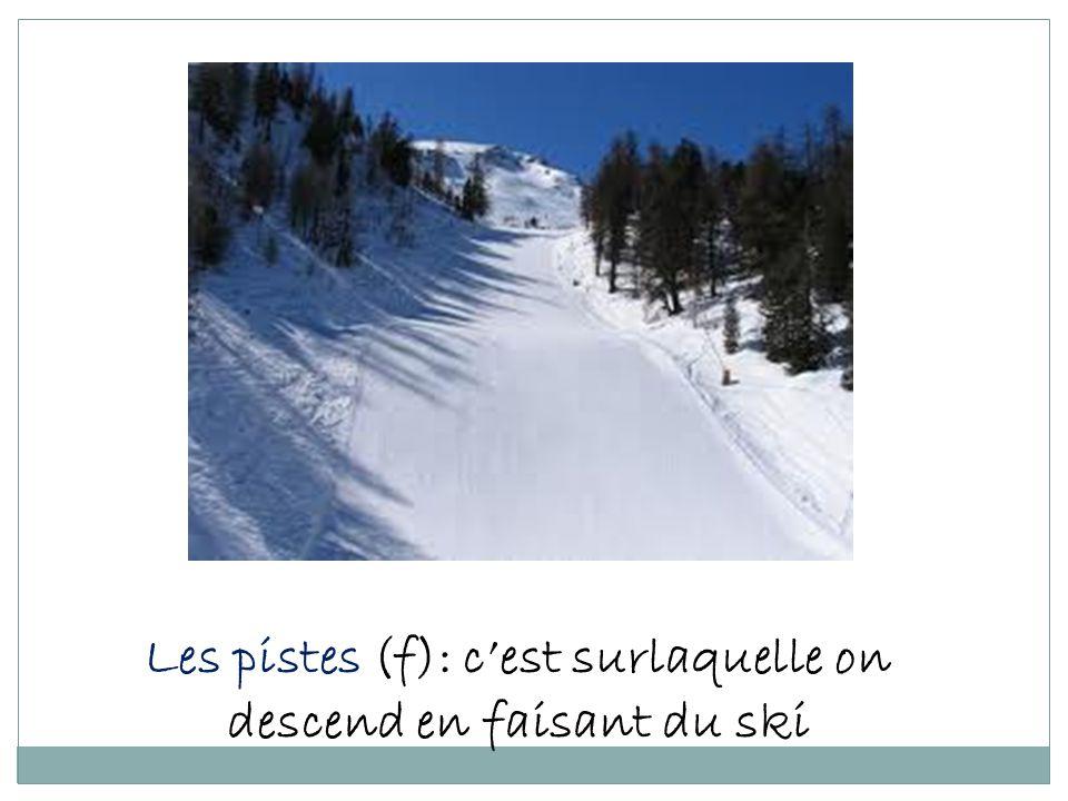 Les pistes (f): c'est surlaquelle on descend en faisant du ski