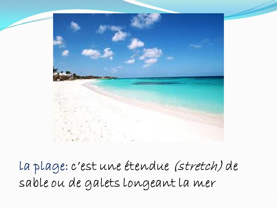la plage: c'est une étendue (stretch) de sable ou de galets longeant la mer