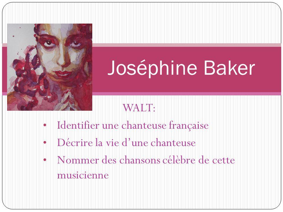 Joséphine Baker WALT: Identifier une chanteuse française