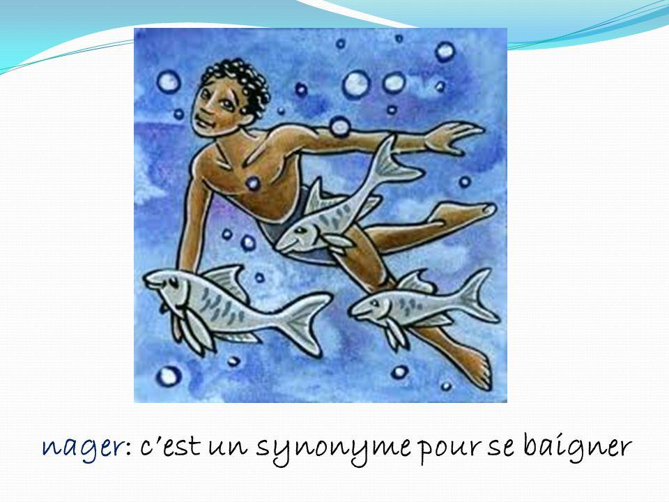nager: c'est un synonyme pour se baigner