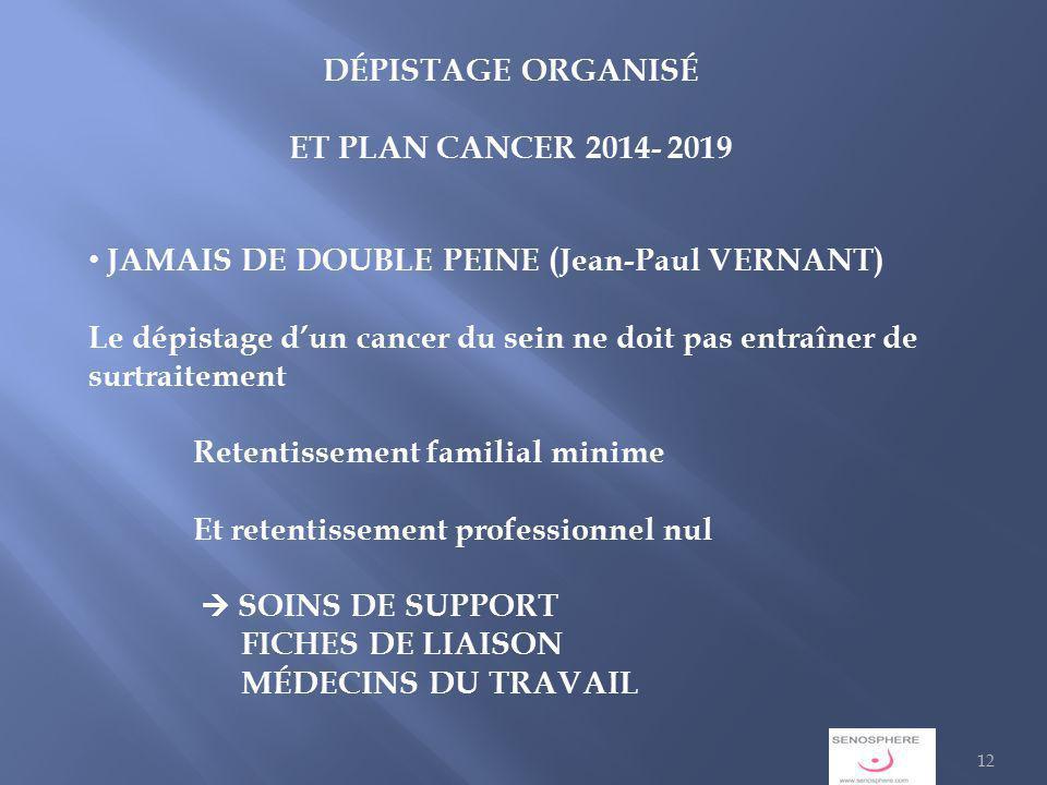 DÉPISTAGE ORGANISÉ ET PLAN CANCER 2014- 2019. JAMAIS DE DOUBLE PEINE (Jean-Paul VERNANT)