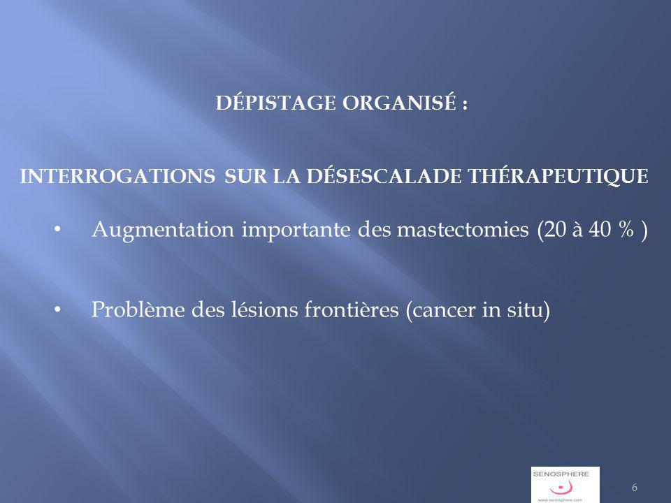 Augmentation importante des mastectomies (20 à 40 % )