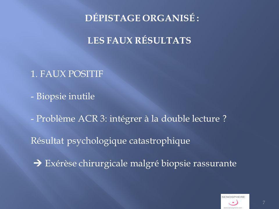 DÉPISTAGE ORGANISÉ : LES FAUX RÉSULTATS. 1. FAUX POSITIF. - Biopsie inutile. - Problème ACR 3: intégrer à la double lecture