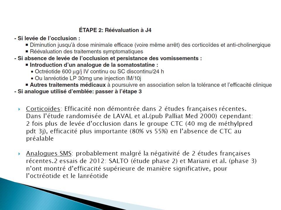 Corticoïdes: Efficacité non démontrée dans 2 études françaises récentes. Dans l'étude randomisée de LAVAL et al.(pub Palliat Med 2000) cependant: 2 fois plus de levée d'occlusion dans le groupe CTC (40 mg de méthylpred pdt 3j), efficacité plus importante (80% vs 55%) en l'absence de CTC au préalable
