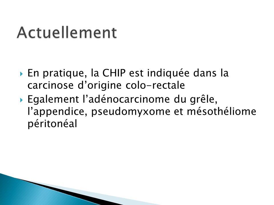 Actuellement En pratique, la CHIP est indiquée dans la carcinose d'origine colo-rectale.