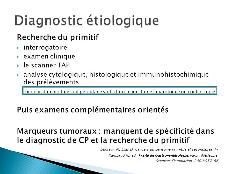Diagnostic étiologique