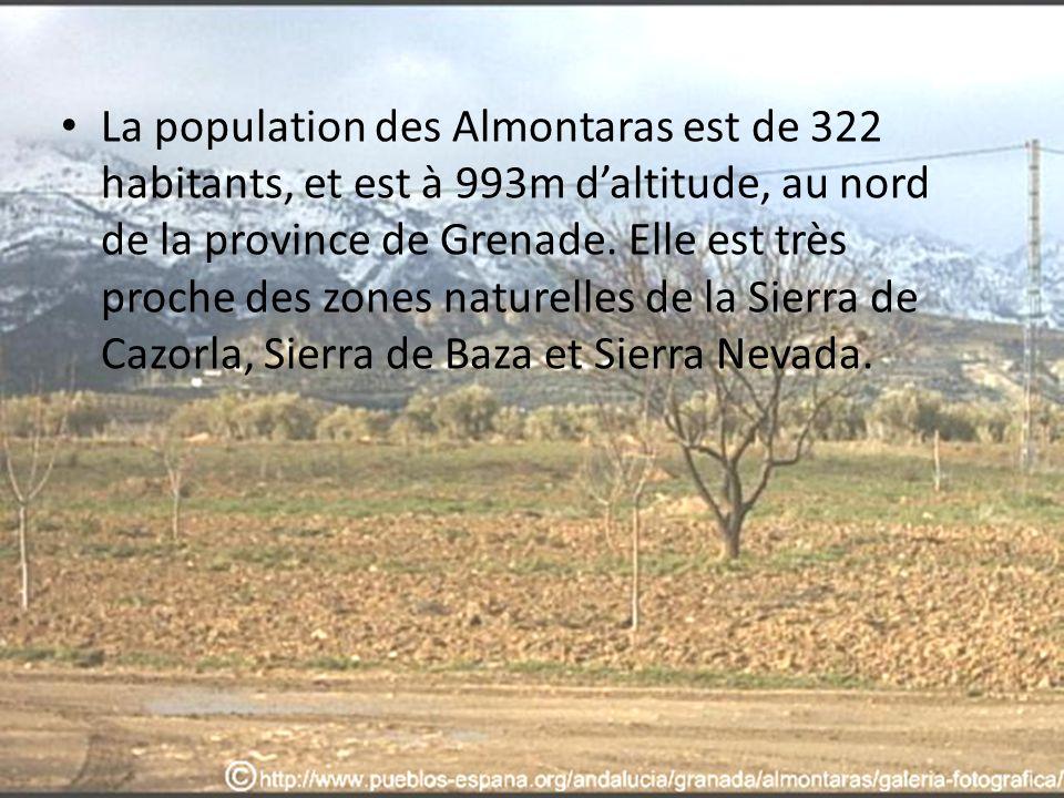 La population des Almontaras est de 322 habitants, et est à 993m d'altitude, au nord de la province de Grenade.