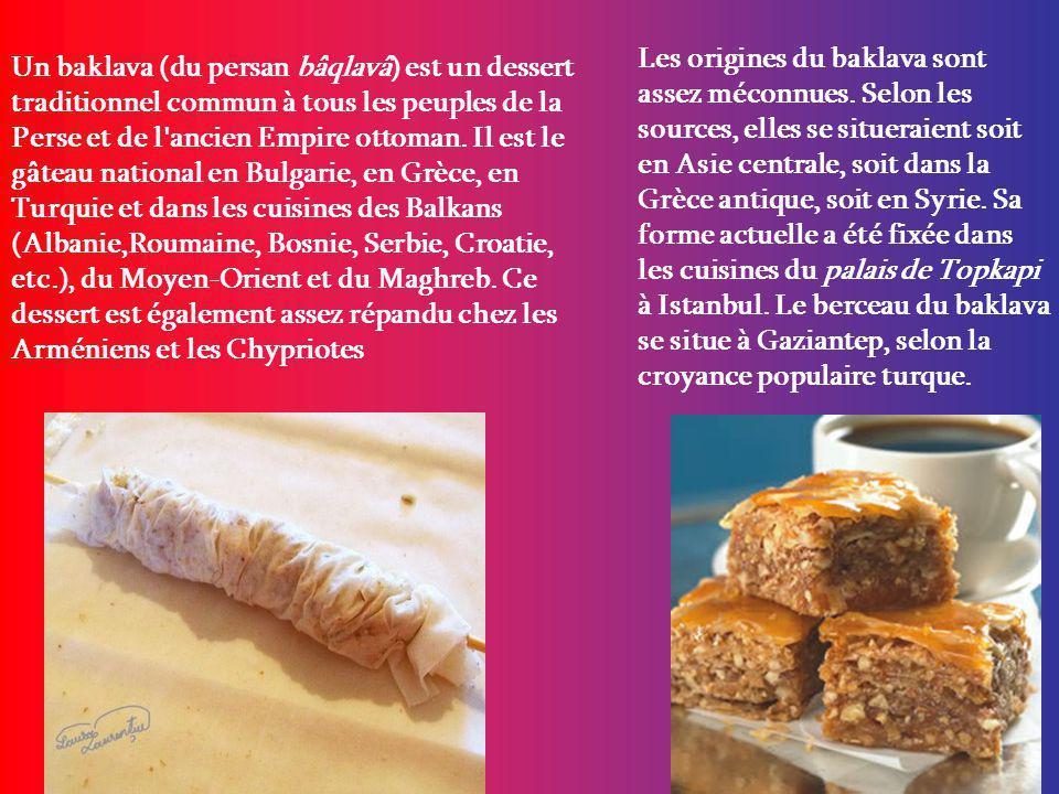 Les origines du baklava sont assez méconnues