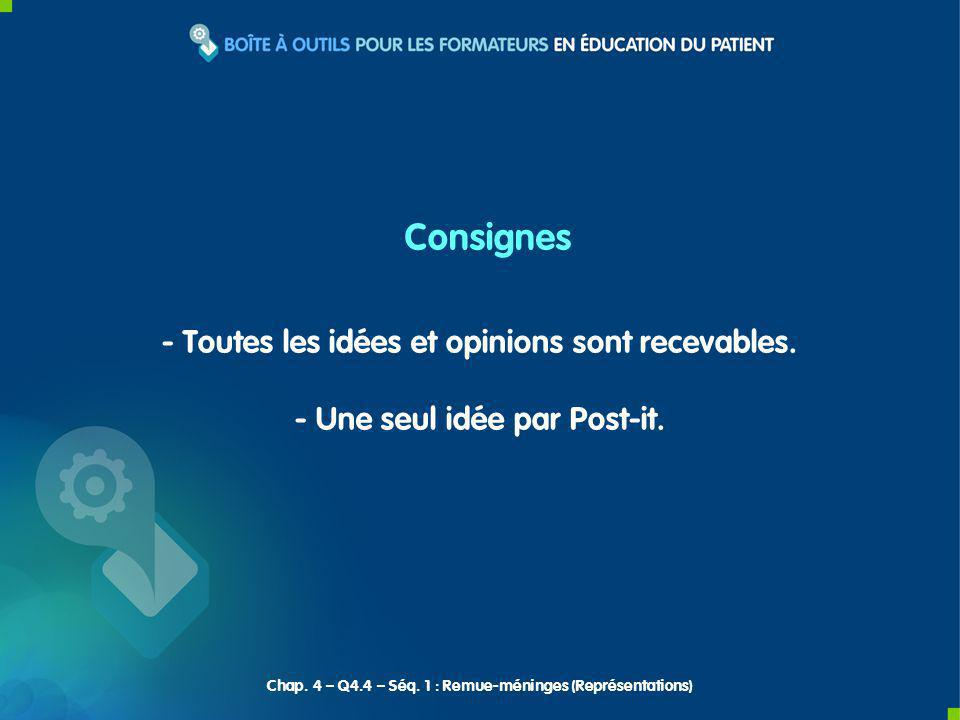 Consignes - Toutes les idées et opinions sont recevables.