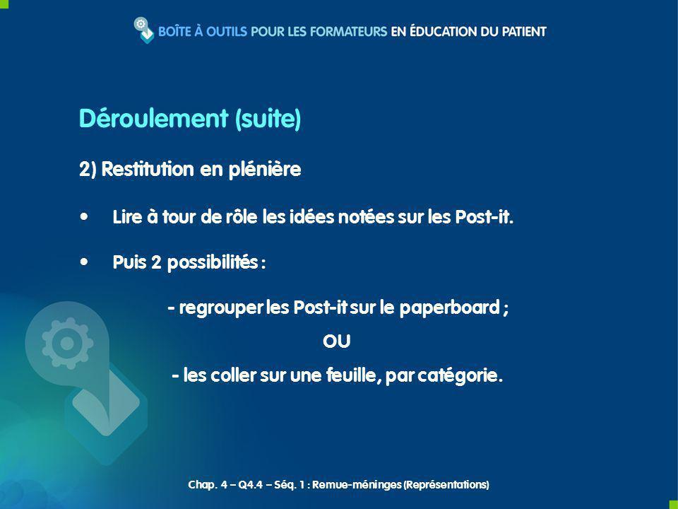 Déroulement (suite) 2) Restitution en plénière