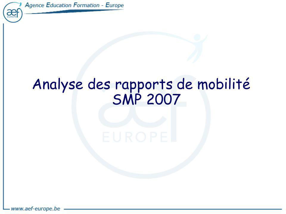 Analyse des rapports de mobilité SMP 2007