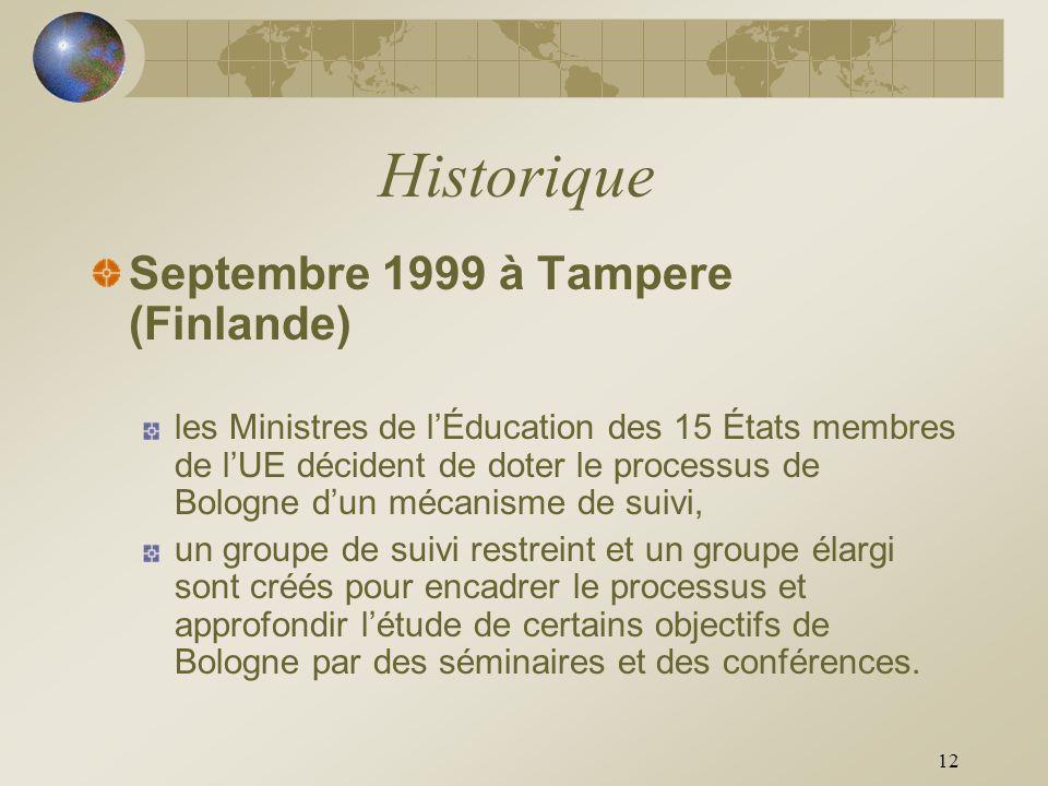 Historique Septembre 1999 à Tampere (Finlande)
