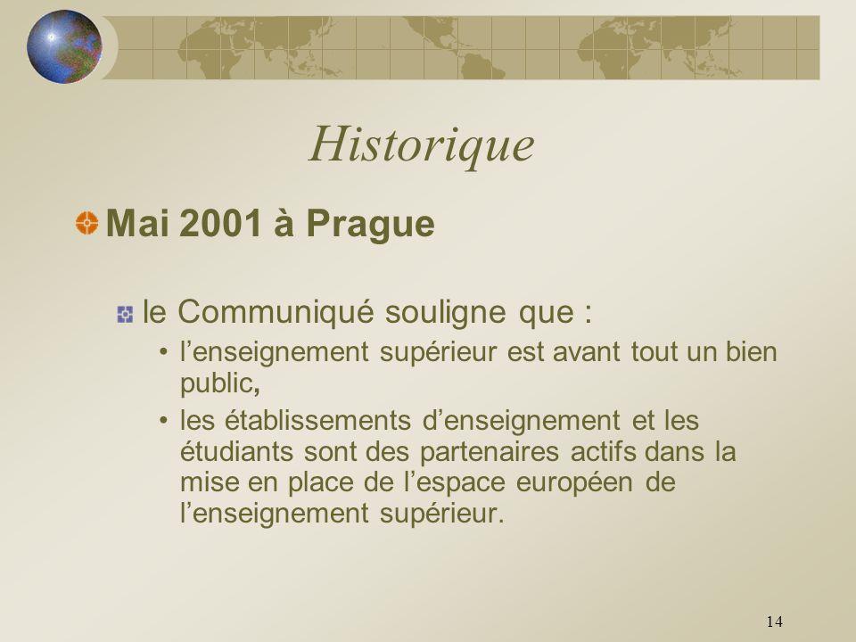 Historique Mai 2001 à Prague le Communiqué souligne que :