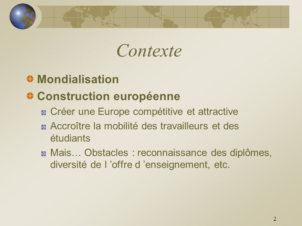 Contexte Mondialisation Construction européenne