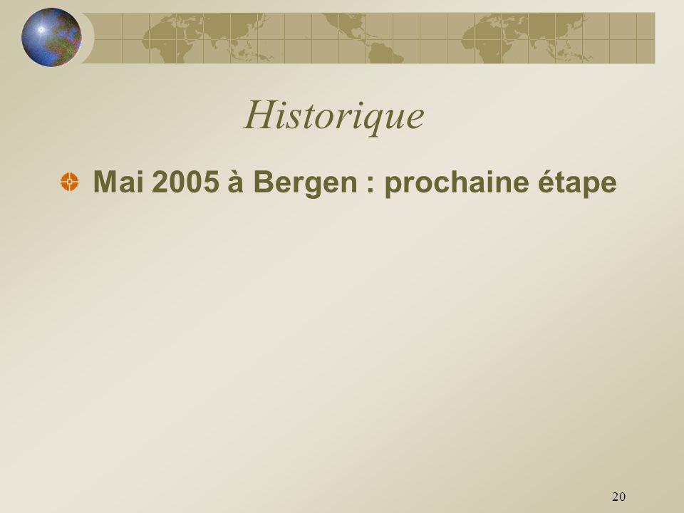 Historique Mai 2005 à Bergen : prochaine étape