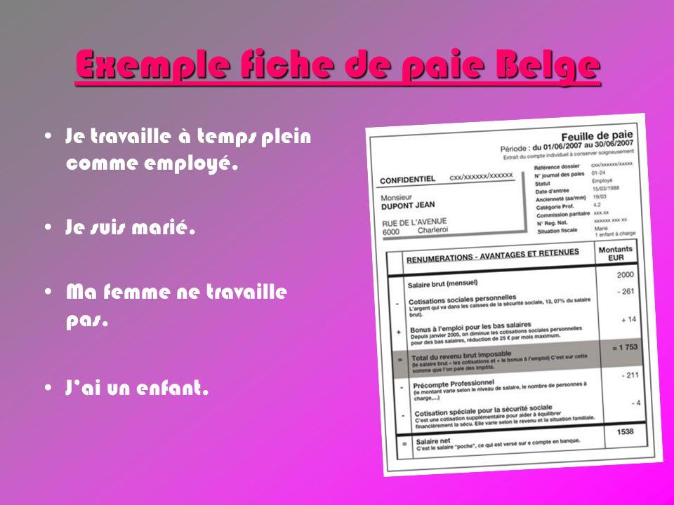 Exemple fiche de paie Belge