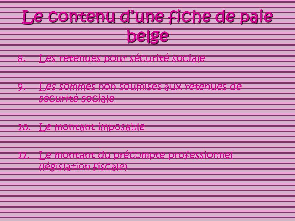 Le contenu d'une fiche de paie belge