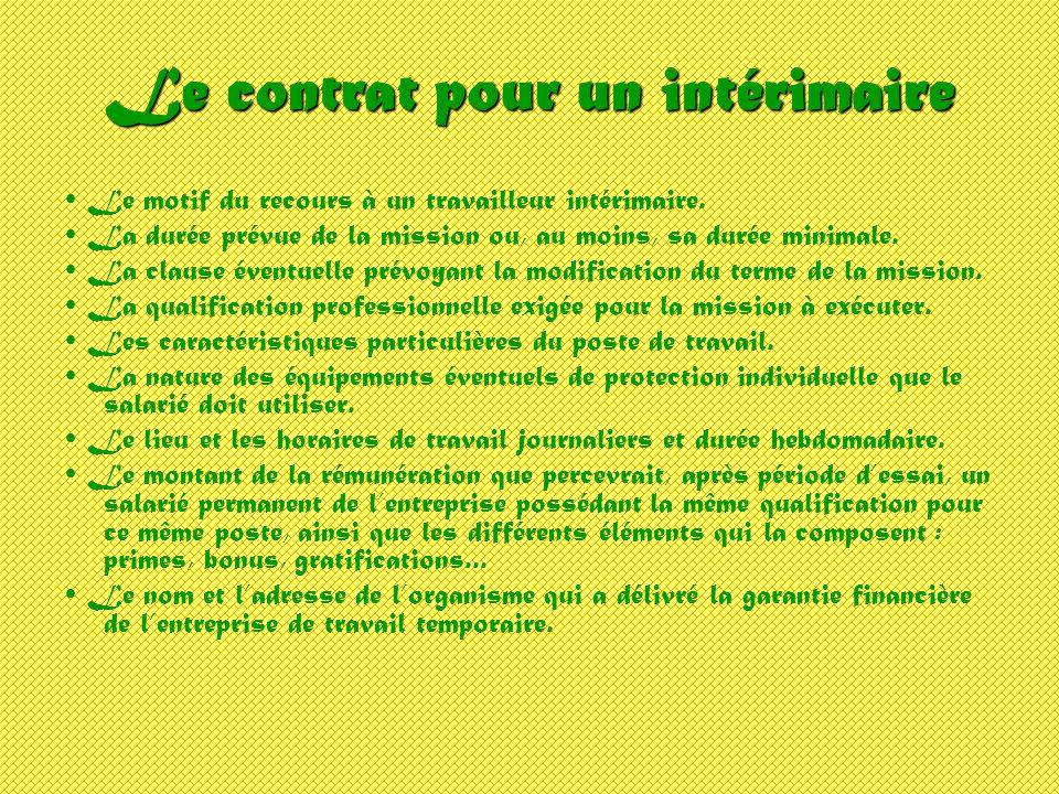 Le contrat pour un intérimaire