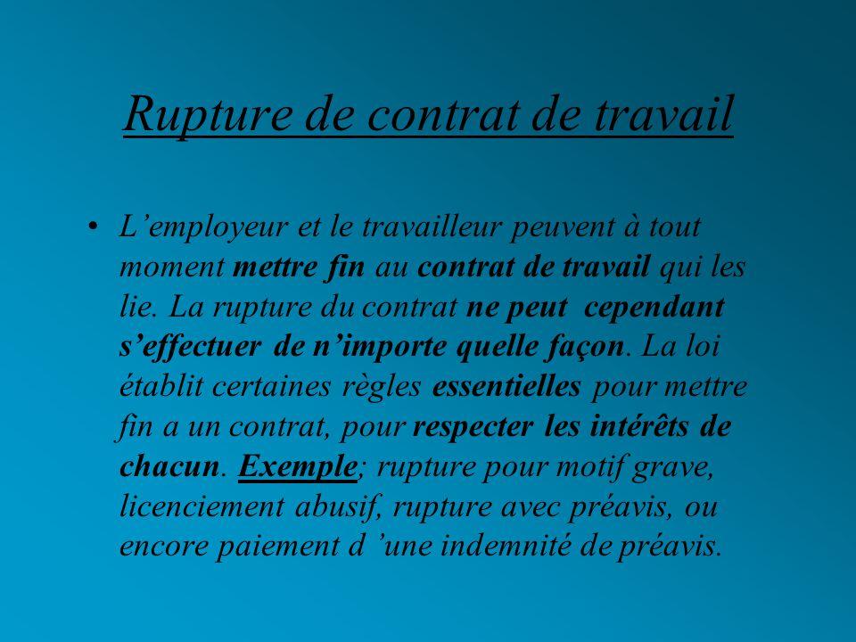 Rupture de contrat de travail