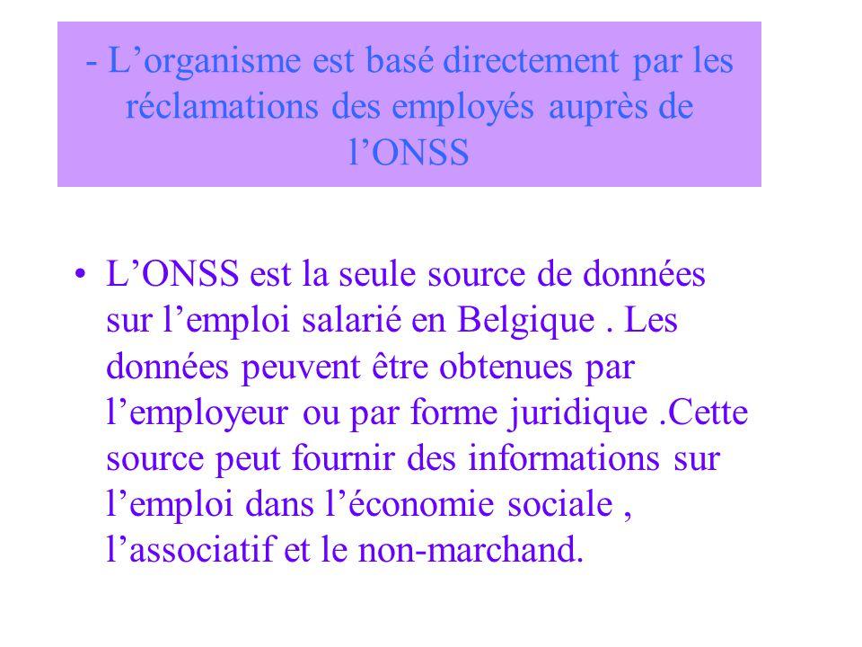 - L'organisme est basé directement par les réclamations des employés auprès de l'ONSS