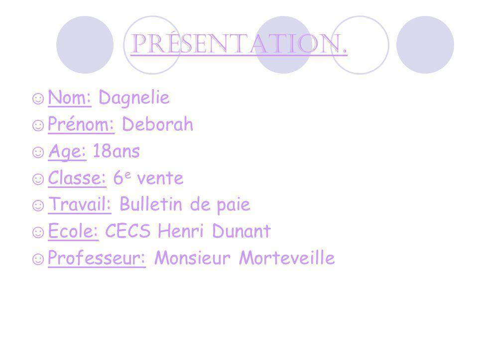 Présentation. Nom: Dagnelie Prénom: Deborah Age: 18ans