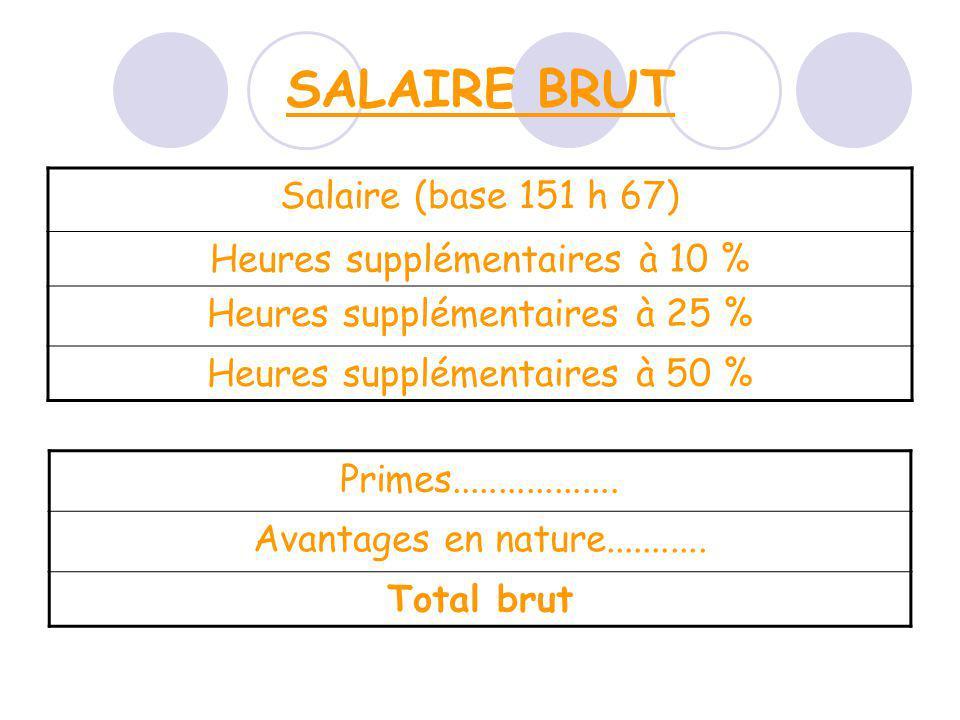 SALAIRE BRUT Salaire (base 151 h 67) Heures supplémentaires à 10 %
