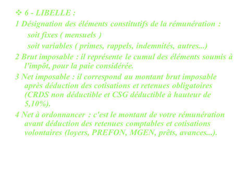 6 - LIBELLE : 1 Désignation des éléments constitutifs de la rémunération : soit fixes ( mensuels )