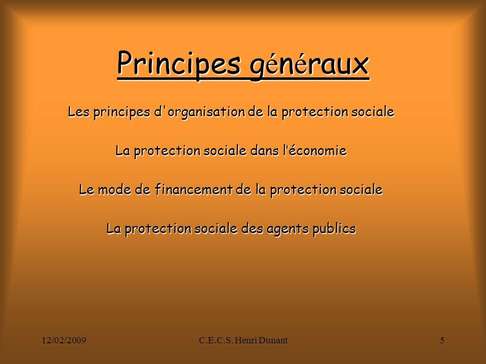 Principes généraux Les principes d organisation de la protection sociale. La protection sociale dans l'économie.