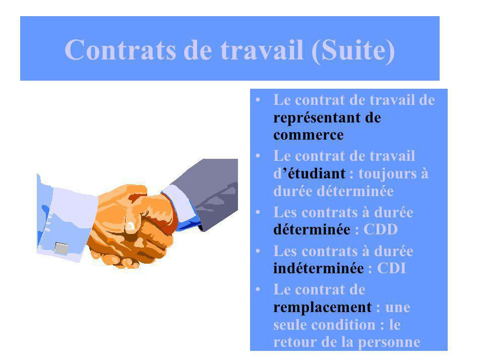Contrats de travail (Suite)