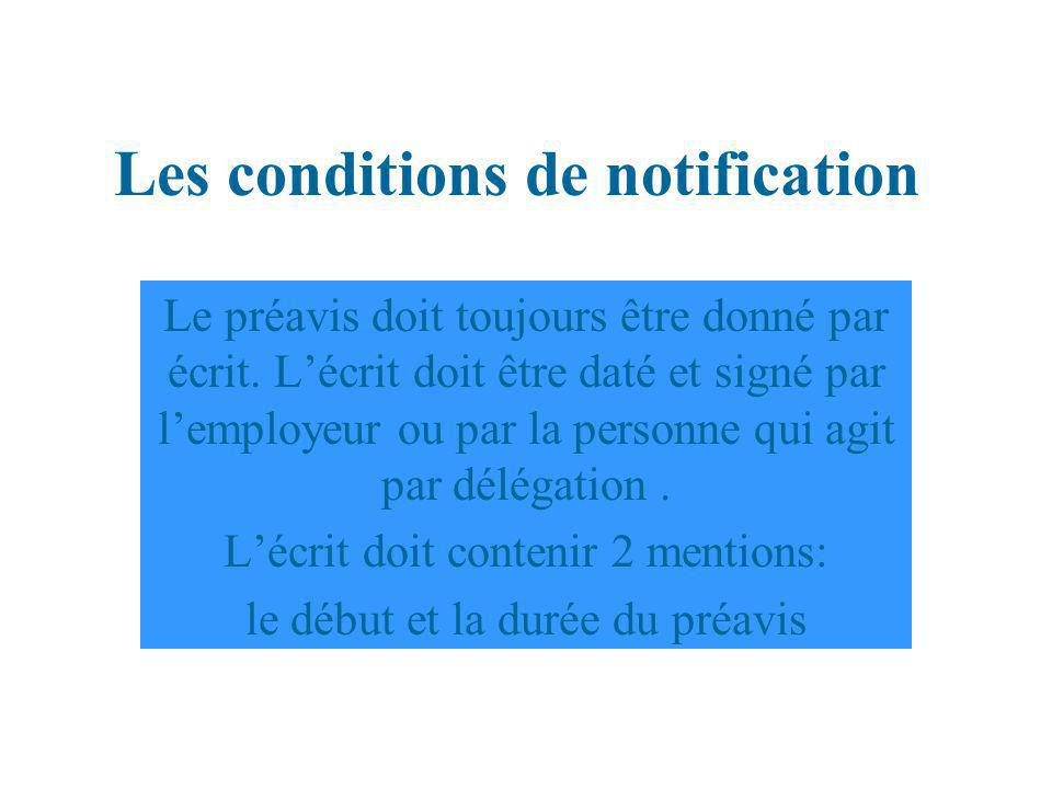 Les conditions de notification