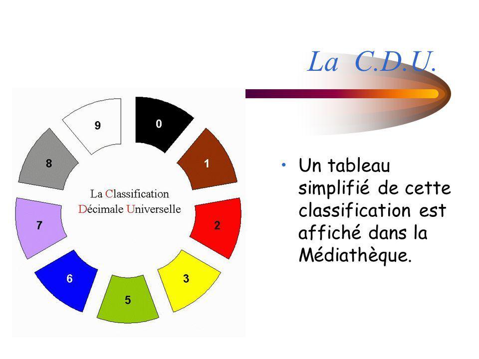 La C.D.U. Un tableau simplifié de cette classification est affiché dans la Médiathèque.