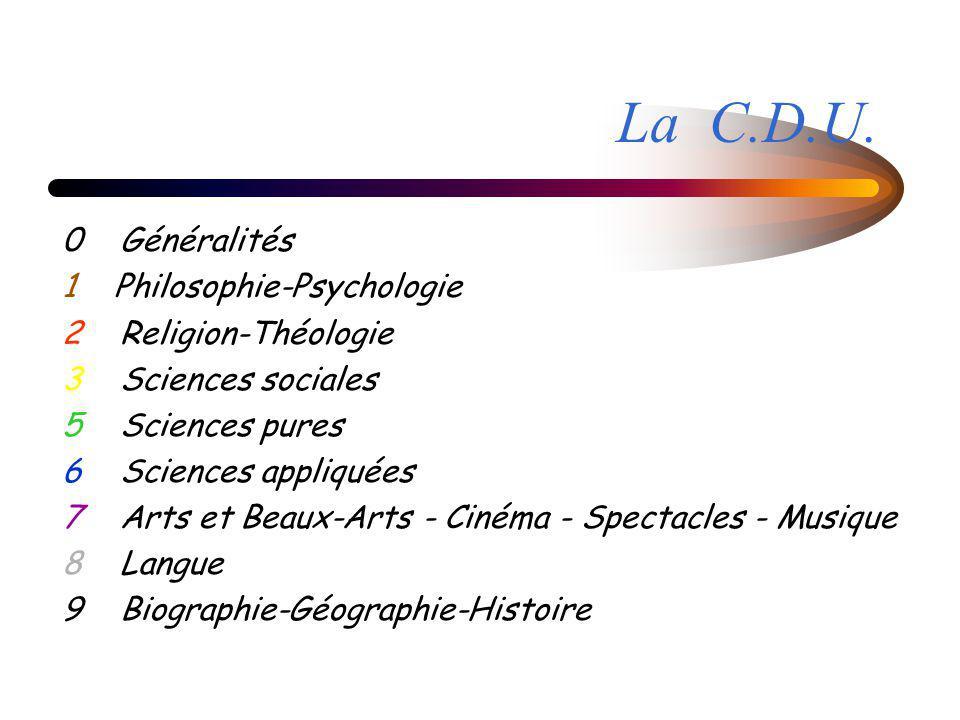 La C.D.U. 0 Généralités 1 Philosophie-Psychologie 2 Religion-Théologie