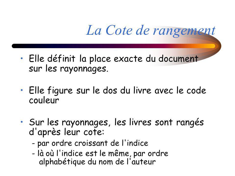 La Cote de rangement Elle définit la place exacte du document sur les rayonnages. Elle figure sur le dos du livre avec le code couleur.